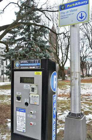 A new style parking meter on Elk Street Friday Jan. 23, 2015, in Albany, NY.  (John Carl D'Annibale / Times Union) Photo: John Carl D'Annibale / 00030337A