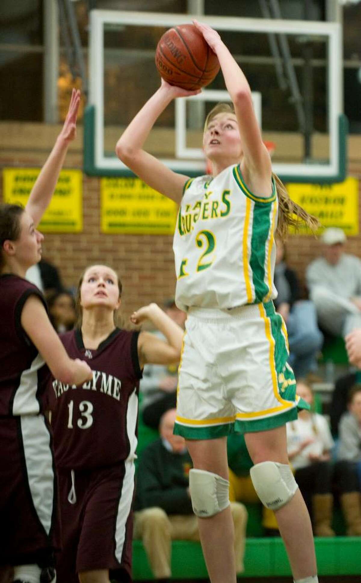 Trinity's Mackenzie Griffin shoots during the the first round of the 2010 CIAC Class L girls basketball tournament at Trinity Catholic High School in Stamford, Conn. on Monday, March 1, 2010.