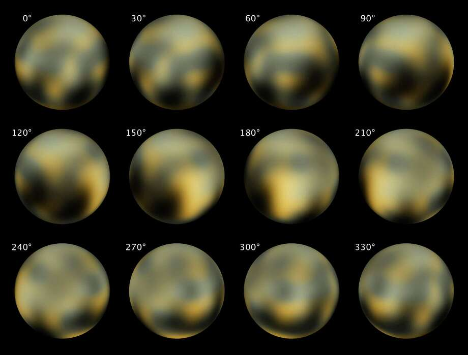 This combination of images made by NASA's Hubble Space Telescope in 2002 and 2003 shows Pluto at different angles. NASA's New Horizons spacecraft is nearing the end of its nine-year voyage to Pluto. Photo: Associated Press / NASA, ESA, M. Buie
