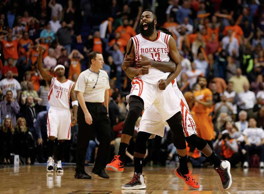 There's no containing James Harden, either before or after his shot as time expired lifted the Rockets past the Suns on Friday. Harden finished with 33 points, his NBA-leading 20th game with at least 30 points. He added 10 assists and six rebounds. Photo: Christian Petersen, Staff / 2015 Getty Images
