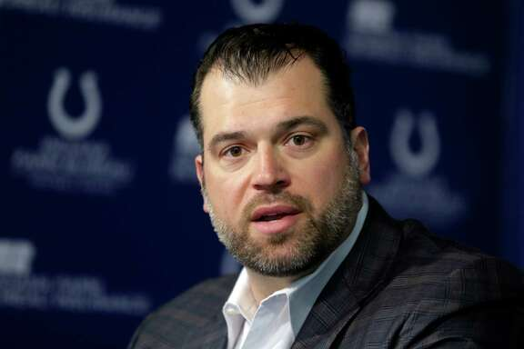 Indianapolis Colts General Manager Ryan Grigson declines to answer a question about deflated footballs used by the New England Patriots in the AFC Championship game during a press conference at the NFL football team's practice facility in Indianapolis, Friday, Jan. 23, 2015. The Colts lost to the Patriots in last Sunday's AFC Championship. (AP Photo/Michael Conroy)