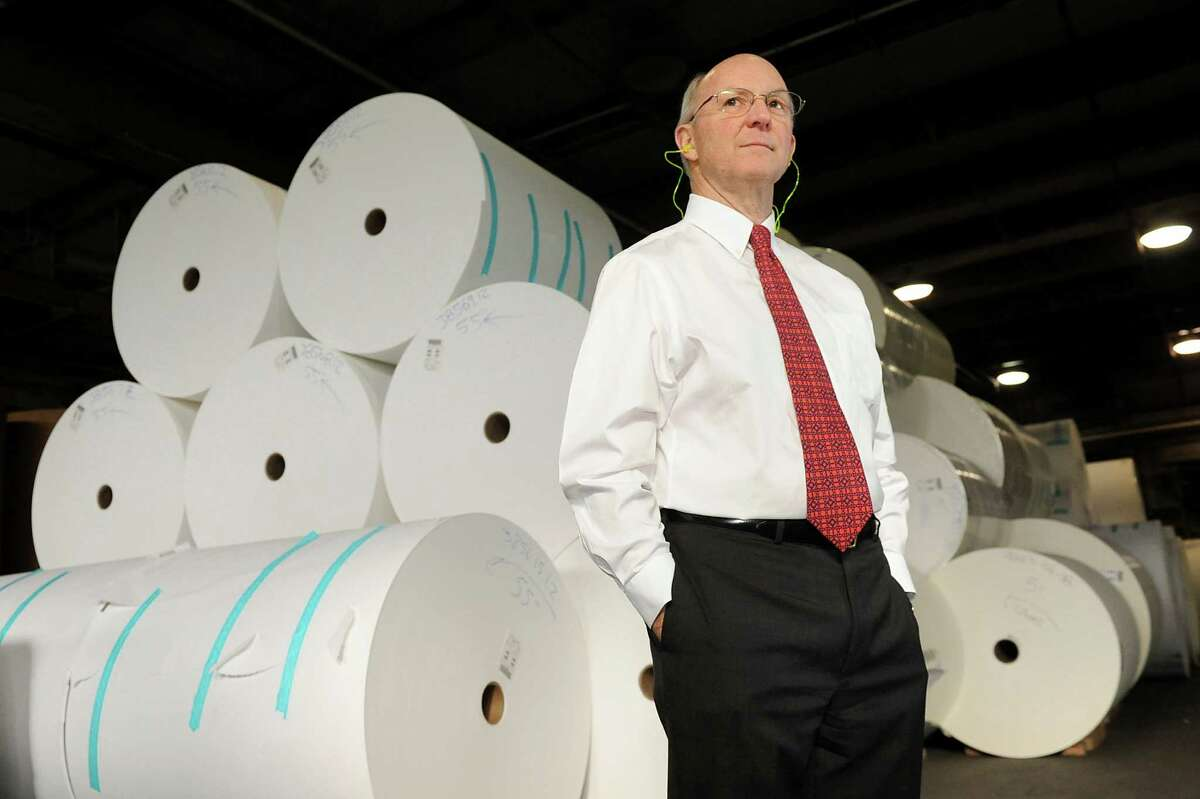 John O'Connor, senior vice president of administration, in the mill on Wednesday, Jan. 21, 2015, at Mohawk Paper in Cohoes, N.Y. O'Connor and his brother Tom O'Connor co-own the family business. (Cindy Schultz / Times Union)