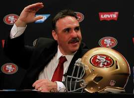 In his new role, Niners head coach Jim Tomsula will have a tough act to follow after Jim Harbaugh's successful run.