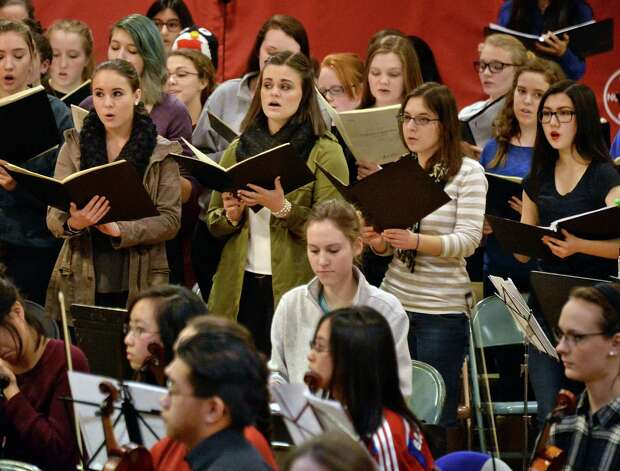 """Some 350 student musicians, including four high school choirs and the Empire State Youth Orchestra during a rehearsal of """"Carmina Burana"""" at the Brown School Saturday Jan. 24, 2015, in Schenectady, NY. The work will be performed at 3:00 pm Sunday, January 25 at the Palace Theatre in Albany.    (John Carl D'Annibale / Times Union) Photo: John Carl D'Annibale / 00030231A"""