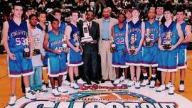 Ben Walton (No. 22, front row at right) was a high school teammate of Stephen Curry (fourth from left, back row) at Charlotte Christian High School. The two are shown with their team in their junior seasons after they won the Bojangles Shootout, a tournament put on by the foundation run by Steph's dad, Dell.