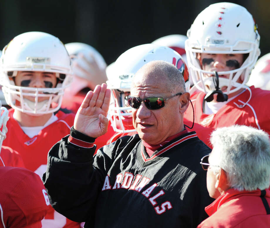 Greenwich High school head football coach Rich Albonizio during the game between Greenwich High School and Fairfield Warde High School at Greenwich, Saturday, Oct. 26, 2013. Greenwich defeated Warde, 42-7. Photo: Bob Luckey / Greenwich Time