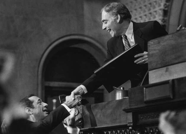 Assembly Speaker Mel Miller shakes hands with Gov. Mario Cuomo during a State of the State address  Jan. 7, 1987, at the Capitol in Albany, N.Y. (Skip Dickstein/Times Union archive)