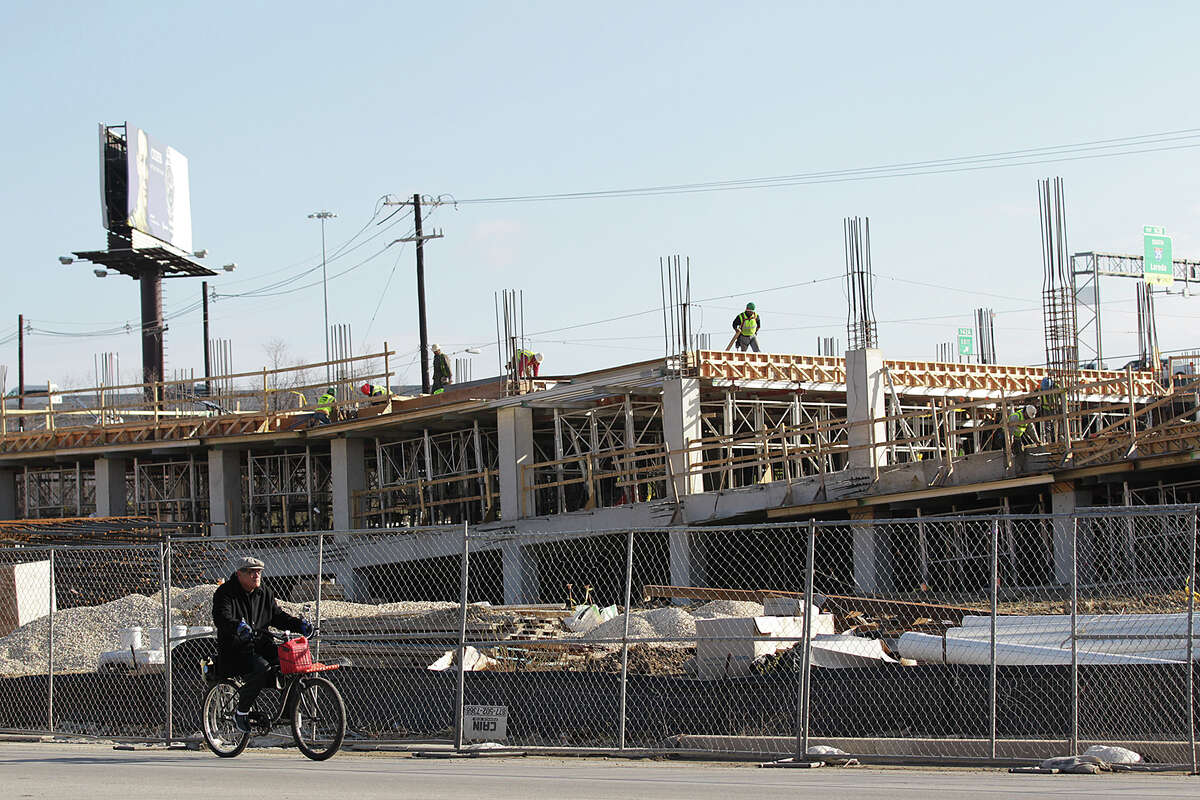 Construction continues at The Rivera, a 300-unit apartment project at the 1100 block of Broadway near the Museum Reach of the San Antonio River. It's one of two multifamily projects that will boost the number of units from 1,000 to 1,700 likely by the end of the year.