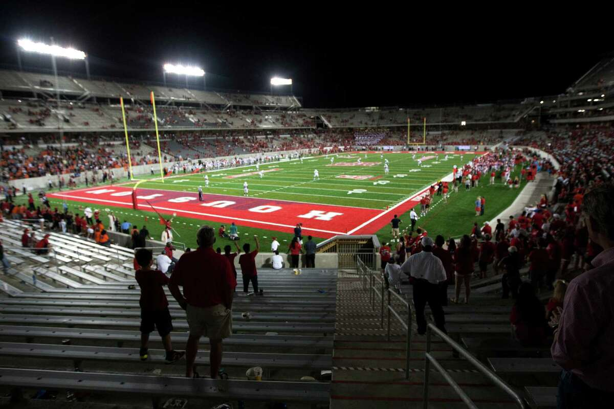 The stands a TDECU Stadium clear out during the fourth quarter an NCAA football game against UTSA on Friday, Aug. 29, 2014, in Houston. ( Brett Coomer / Houston Chronicle )