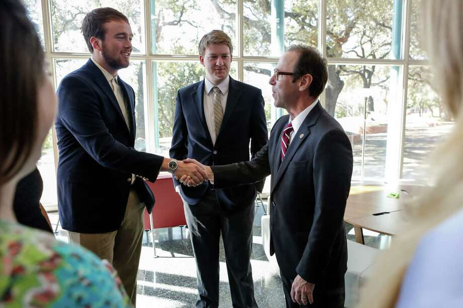 Trinity University president-elect, Danny J. Anderson, having an informal meeting with Student Body President, Sean McCutchen, and other students from the Student Government Association and the student newspaper, the Trinitonianm on Jan 19, 2014. Anderson is currently a Spanish professor at the University of Kansas and is an expert in Mexican American literature. Photo: Spencer Selvidge For The San ANt / Spencer Selvidge / Copyright 2014, Spencer Selvidge for the San Antonio Express-News