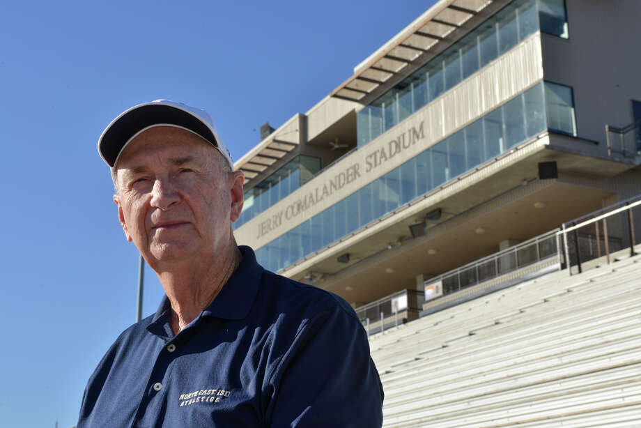 North East Independent School District Executive Director of Athletics Jerry Comalander at the football stadium named after him in the Blossom Athletic Center. Comalander is retiring after 40 years with the district. Photo: ROBIN JERSTAD / San Antonio Express-News