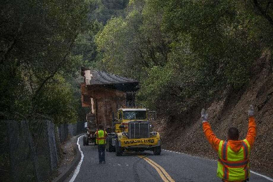 Girton Hall moving up Strawberry Canyon to the UC Botanical Garden on Jan. 12, 2013 Photo: Chronicle File Photo / /
