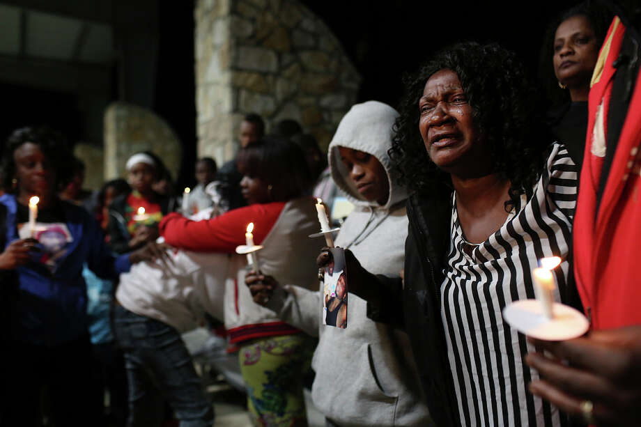 """""""This has to stop,"""" says Pinkie Price, the grandmother of Vontay Price, one of two men killed on Martin Luther King Jr. Day, as she speaks out against the killings during a vigil for Price and Royal Willrich at Lockwood Park in San Antonio on Saturday, Jan. 24, 2015. The vigil was organized by Stand Up S.A., a Metro Health violence prevention program. Photo: Lisa Krantz, San Antonio Express-News / ©2014 San Antonio Express-News"""