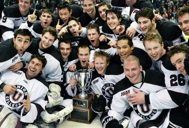 Union players celebrate their Mayor's Cup game victory over RPI Saturday Jan. 24, 2015 in Albany, NY.  (John Carl D'Annibale / Times Union) Photo: John Carl D'Annibale / 00030278A