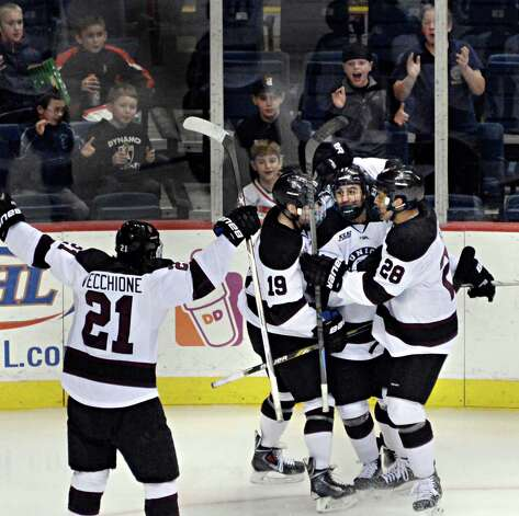 Union's #17 Daniel Ciampini, second from right, and team mates celebrate his goal in Saturday's Mayor's Cup game against RPI at the Times Union Center Jan. 24, 2015, in Albany, NY.  (John Carl D'Annibale / Times Union) Photo: John Carl D'Annibale / 00030278A