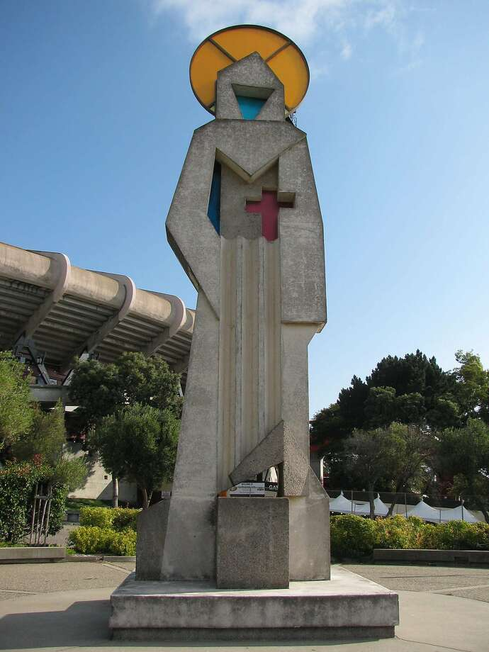 The 27-foot-tall statue of St. Francis, which has stood outside Candlestick Park since 1973, is being evicted to make way for a new shopping center and hotel.  It was created by artist Ruth Wakefield Cravath Photo: Courtesy SF Arts Commission