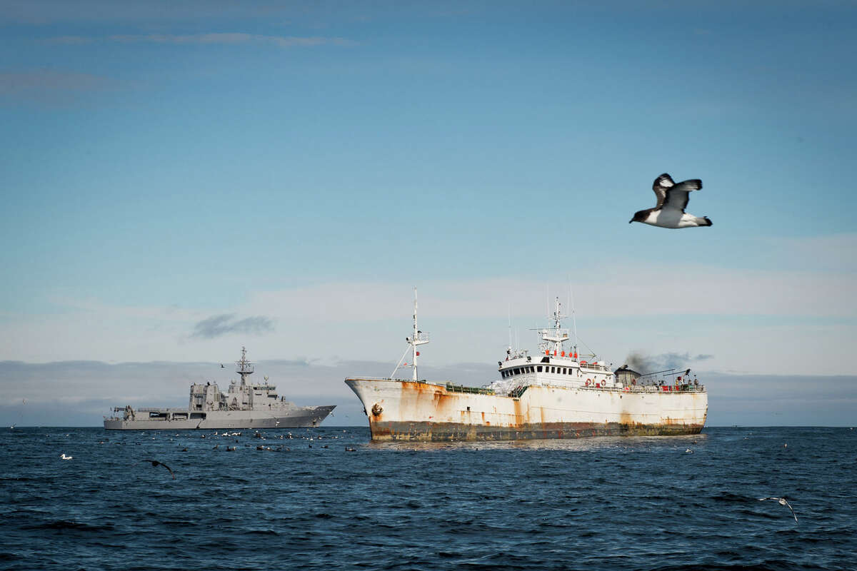 This Jan. 14, 2015 photo provided by the Royal New Zealand Navy shows the illegal fishing boat the
