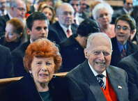 Elaine, 93, and Edward Scharfenberger, 94, at the ordination installation of their son  Edward B. Scharfenberger as Bishop of the Albany Diocese at the Cathedral of the Immaculate Conception Thursday April 10, 2014, in Alnamy.NY.  (John Carl D'Annibale / Times Union archive)