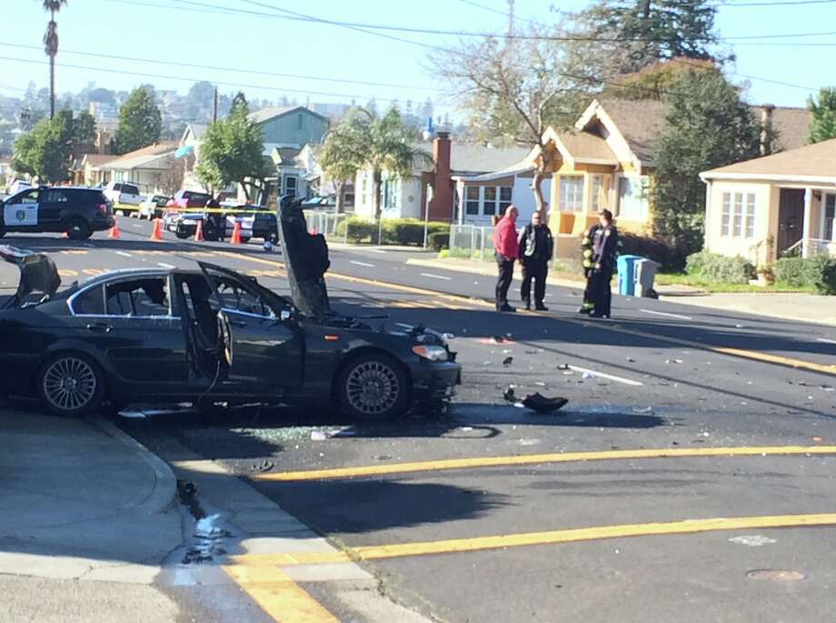 Four people were injured after a motorcyclist slammed into a vehicle at Georgia Street and Roney Avenue in Vallejo on Sunday, January 25, 2015. Photo: Chris Preovolos, Chronicle