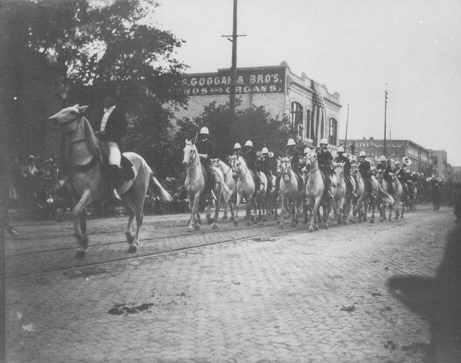 Mounted band of the 5th U.S. Cavalry participated in the Battle of Flowers Parade on April 21, 1897. Photo: UTSA Special Collections / UTSA Special Collections