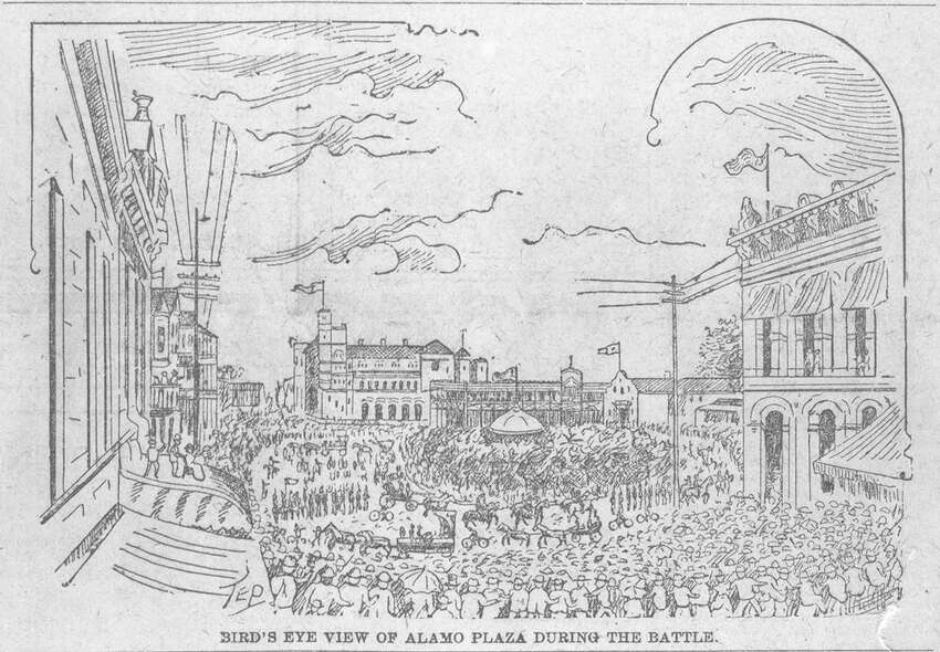 1891 - San Antonio's beloved Fiesta began when a group of women decided to pay homage to the heroes of the 1836 battles of the Alamo and San Jacinto. In 1891, the women decorated horse-drawn carriages, and then paraded in front of the Alamo, where they showered each other with flower blossoms. This illustration from the San Antonio Express-News from April 21, 1894, shows a bird's eye view of the Alamo Plaze during the Battle of Flowers Parade.