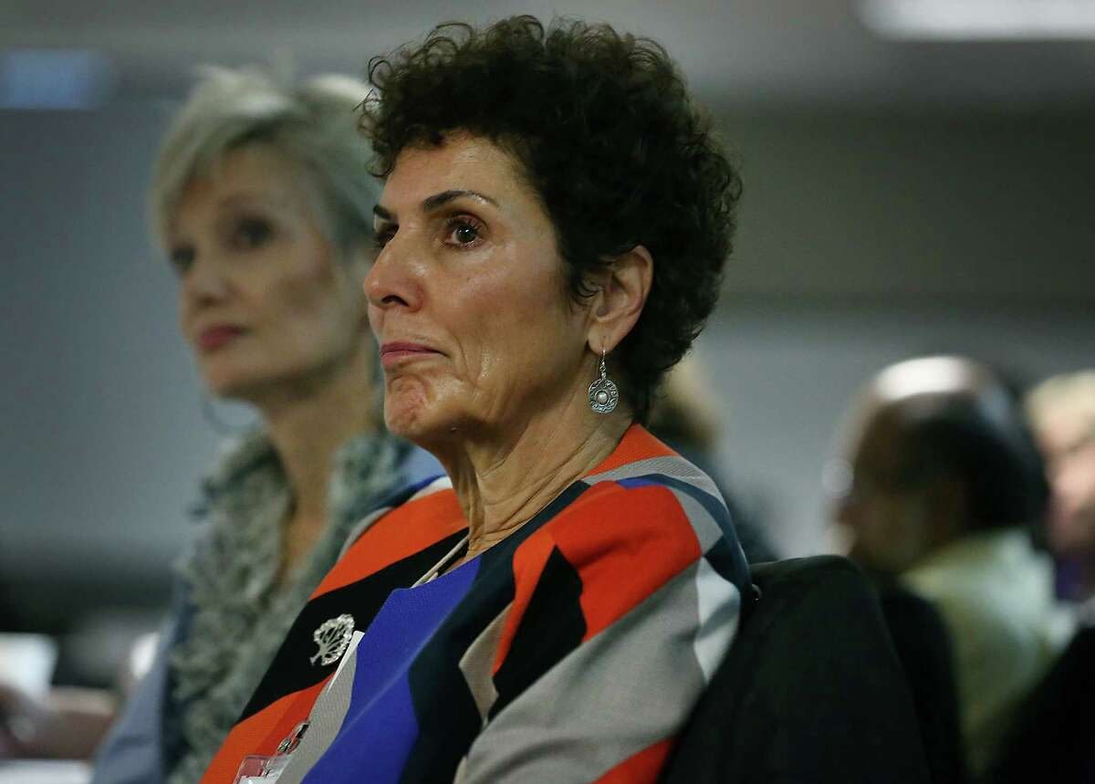 Ellen Harris, co-founder of the Jordan Elizabeth Harris Foundation, speaks at a roundtable conference on suicide among young in San Antonio held at Valero. Harris's daughter Jordan took her own life. Friday, Jan. 23, 2015.