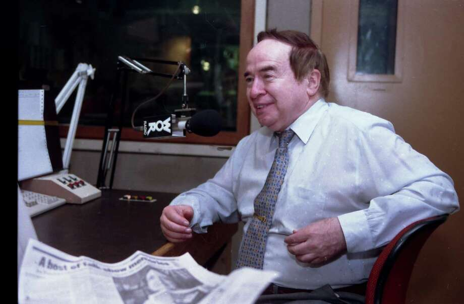 """File-This Aug. 6, 1993, file photo shows Joe Franklin speaking as a guest on the """"John Gambling Radio Show"""". Franklin died Saturday Jan. 24, 2015 of cancer, which he had had for a few years, longtime producer and friend Steven Garrin said. He was 88. (AP Photo/Kevin Larkin) Photo: Kevin Larkin, FRE / AP"""