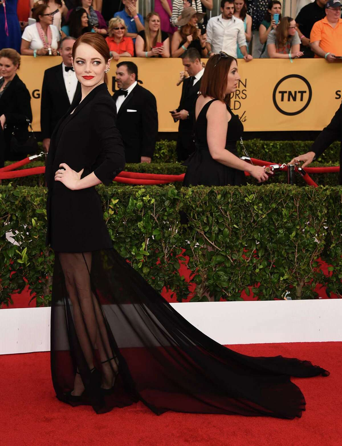 Worst: Emma Stone This looks like she stole a suit jacket from her grandpa and curtain from her grandmother.