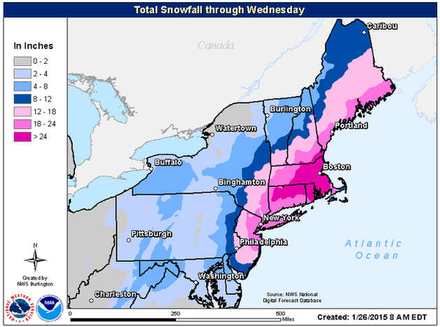 The latest snowfall prediction for the Northeast as a nor'easter moves up the coast on Monday. (National Weather Service - Burlington, Vt.)