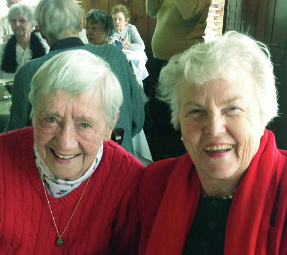 Sharing the good times  Friends Nancy Giddings, left, and Doris Ryan were among those in attendance Dec. 11, 2014 as the Sherman Senior Center hosted its annual holiday party. More than 40 seniors joined in the fun, enjoying good friends, food and a sing-along.  Courtesy of the Sherman Senior Center Photo: Contributed Photo / The News-Times Contributed