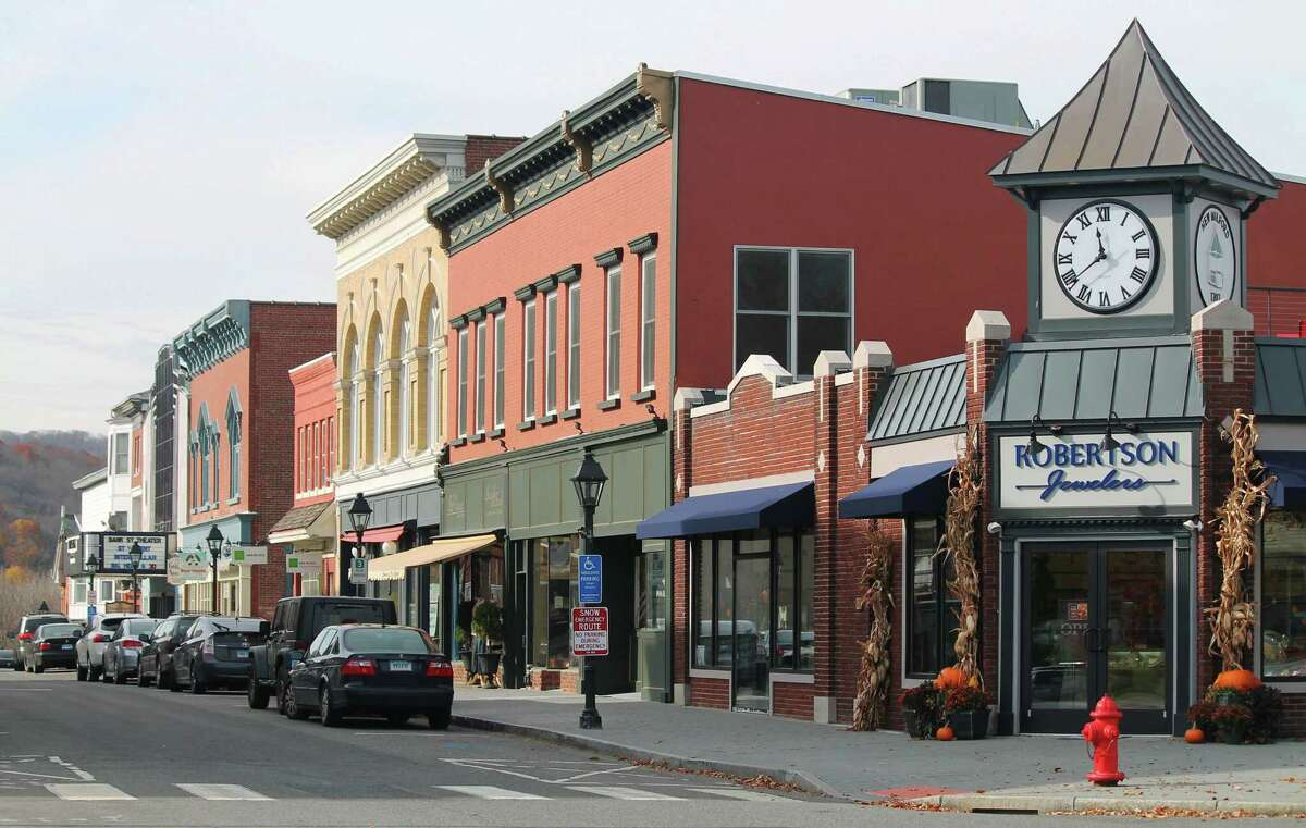 Bank Street in the New Milford village center has long been known for its architectural splendor. Its focal point at the Village Green end is the clocktower constructed last year atop the corner shop now called home by Robertson Jewelers. Nov. 13, 2014