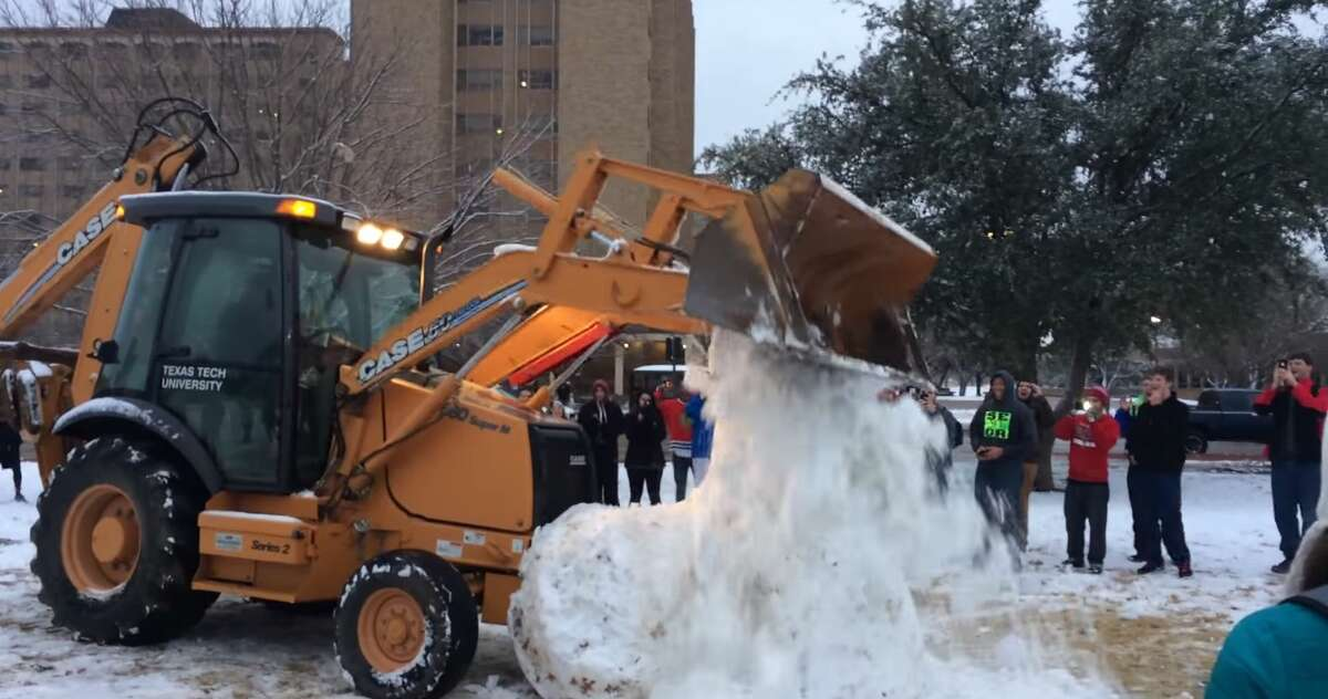 Giant snow penis demolished at Texas Tech University as