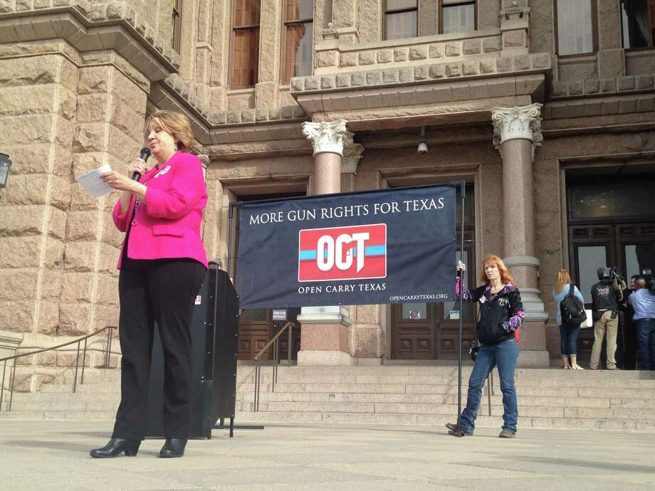 Rep. Molly White, R-Belton, spoke to open carry activists at the state Capitol in Austin on Jan. 26. Photo: Lauren McGaughy/Houston Chronicle