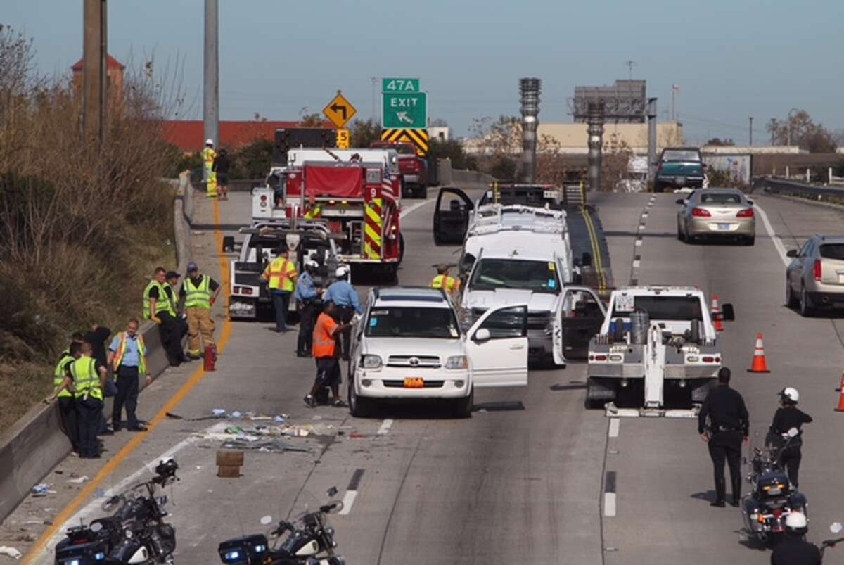 A heavy truck accident blocked northbound traffic on the Gulf Freeway on Jan. 26, 2015