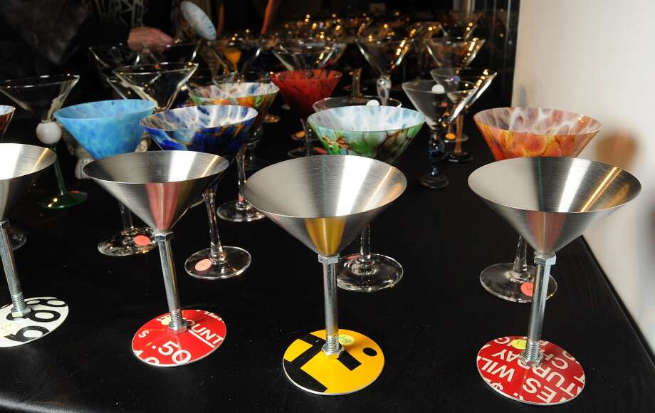 A table full of martini glasses at Martini Madness at the Center for Contemporary Craft Photo: Dave Rossman, For The Chronicle