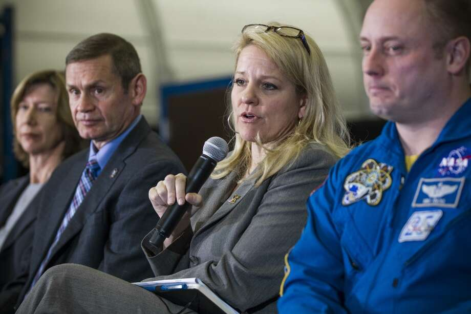 Gwynne Shotwell, president and chief operating officer, SpaceX, answers a question during a news conference at NASA's Johnson Space Center on Monday, Jan. 26, 2015, in Houston. NASA, Boeing and SpaceX discussed commercial crew development and test plans for launching American astronauts from the United States by 2017. ( Brett Coomer / Houston Chronicle ) Photo: Houston Chronicle