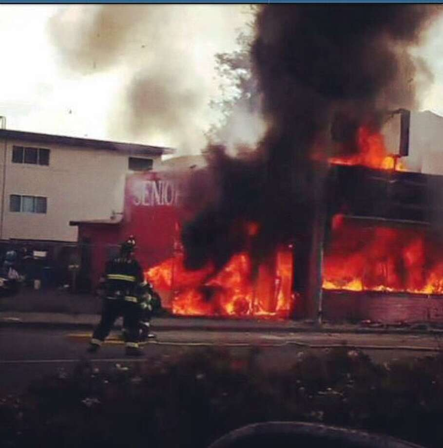 Seniore's Pizza in San Bruno went up in flames Monday after a driver crashed into a gas main near the building. Photo: Twitter: @Soto650 / ONLINE_YES