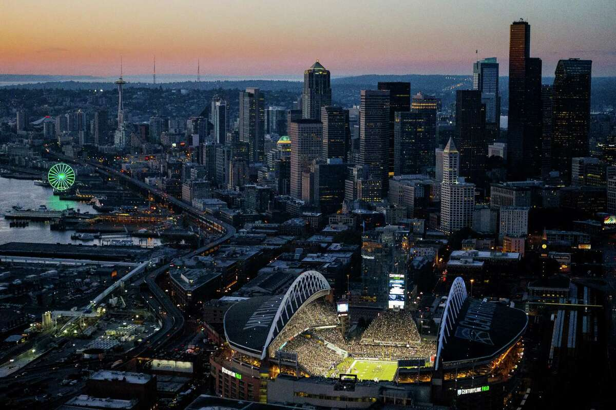 CenturyLink Field is shown from the air during the Seattle Seahawks season opener against the Green Bay Packers on Thursday, September 4, 2014, in Seattle, Washington. The Seahawks won the game 36-16.
