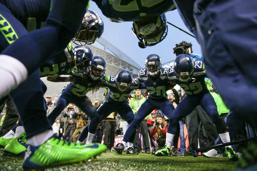 Seattle Seahawks players get hyped before the NFC Divisional Playoff against the Carolina Panthers. The Seahawks defeated the Panthers 31-17 to advance to the championship game.