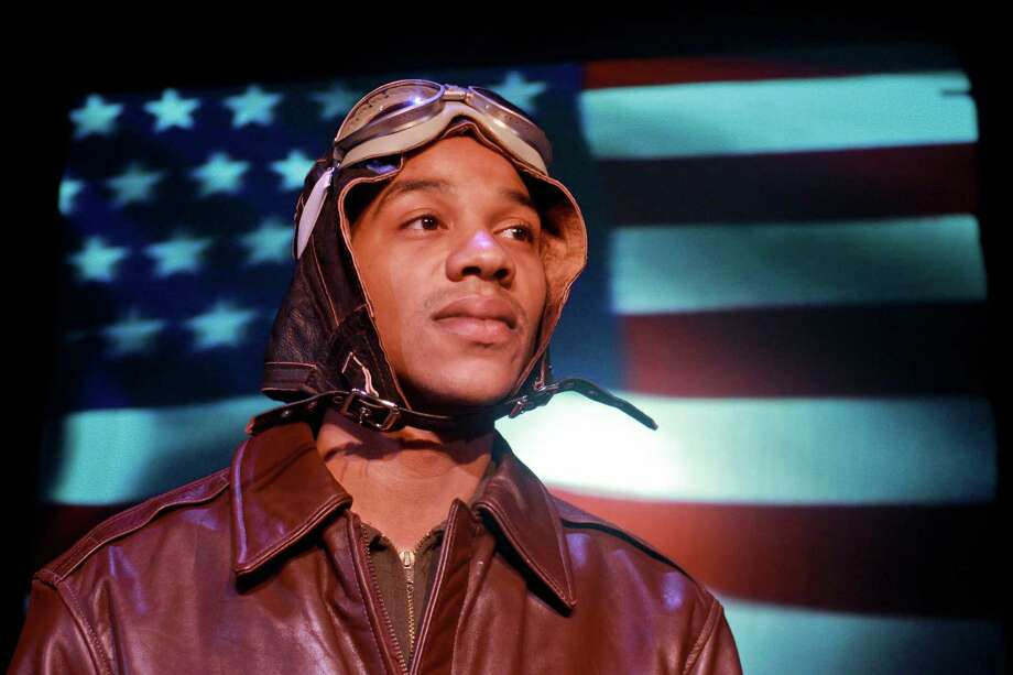 """Kendrick Brown in this scene from """"Fly,"""" Ensemble Theatre's production about the Tuskegee Airmen, their training and service during World War II. (For the Chronicle/Gary Fountain, January 22, 2015) Photo: Gary Fountain, Freelance / Copyright 2015 by Gary Fountain"""