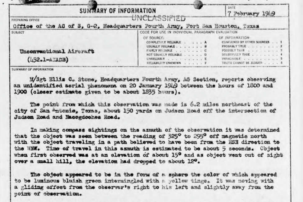 Investigator's report summary of a sighting on February 7, 1949.