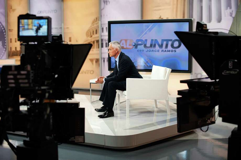 Jorge Ramos, the immensely influential Latino television anchor, at Univision's studios in Doral, Fla., a suburb of Miami. Ruben Navarrette says Republcians are cast as villains on Univision. Photo: BRYAN THOMAS /New York Times / NYTNS