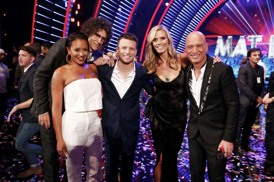 Judges Mel B (from left), Howard Stern, last season's 'AGT'   winner Mat Franco, Heidi Klum and Howie Mandel gather. Photo: NBC / 2014 NBCUniversal Media, LLC.