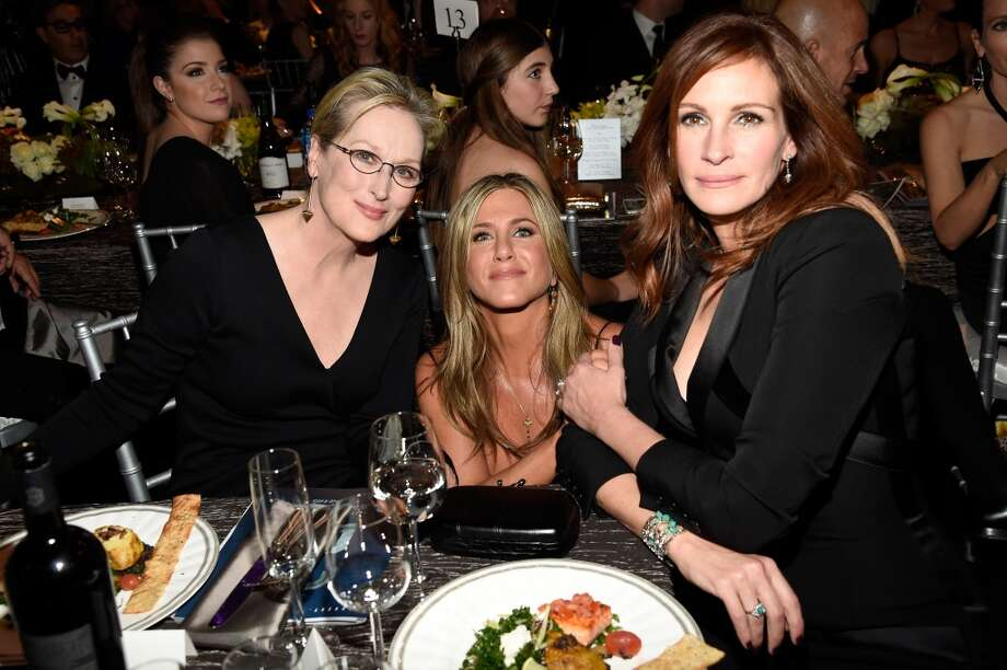 (L-R) Actresses Meryl Streep, Jennifer Aniston, and Julia Roberts attend TNT's 21st Annual Screen Actors Guild Awards at The Shrine Auditorium on January 25, 2015 in Los Angeles, California. 25184_013 (Photo by Christopher Polk/WireImage)