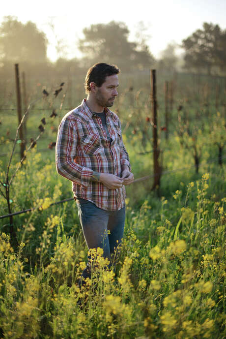 Scott Schultz, who produces friendly wines for his Jolie-Laide label, is also assistant winemaker at Wind Gap Wines. He stands in a field of Grenache plantings at Provisor vineyard in Healdsburg. Photo: Erik Castro / Special To The Chronicle / ONLINE_YES
