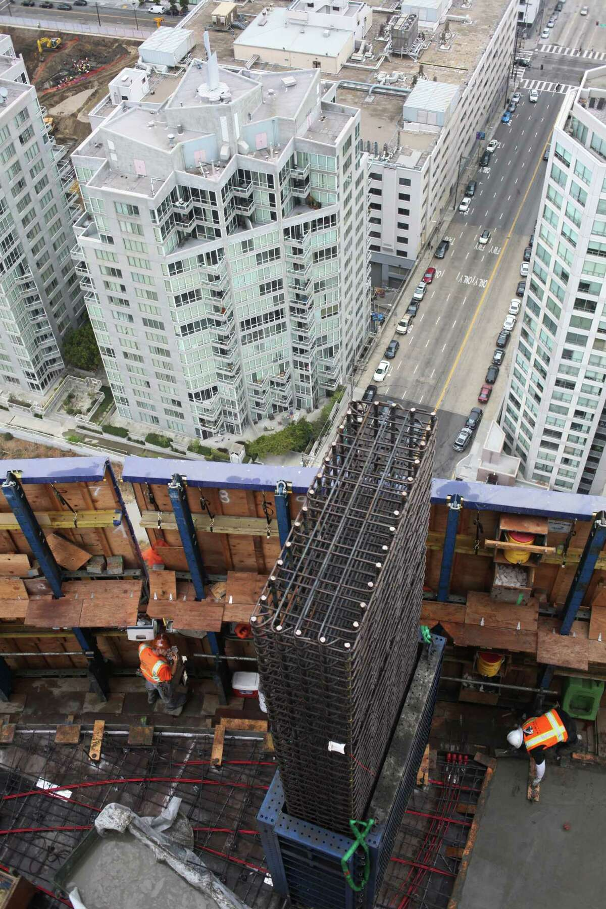 A column of rebar rises from the construction site of One Rincon Hill Phase Two in San Francisco in 2013.