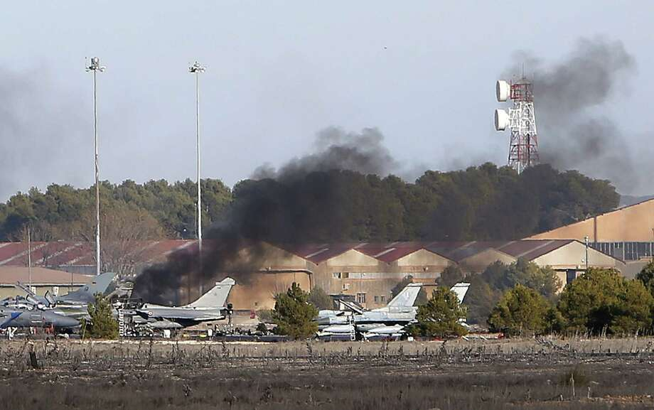 A Greek fighter jet crashed during takeoff at Los Llanos military base in Spain on Monday while taking part in NATO exercises. Officials said 10 people were killed and 21 were injured in the incident.  Monday, killing 10 people and injuring 13, the defence ministry said.    AFP PHOTO / JOSEMA MORENOJOSEMA MORENO/AFP/Getty Images Photo: JOSEMA MORENO, Stringer / Jose M Moreno Arenas