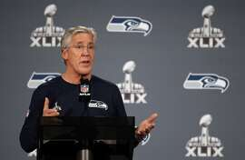CHANDLER, AZ - JANUARY 26:  Head coach Pete Carroll of the Seattle Seahawks speaks during a Super Bowl XLIX media availability at the Arizona Grand Hotel on January 26, 2015 in Chandler, Arizona.  (Photo by Christian Petersen/Getty Images)
