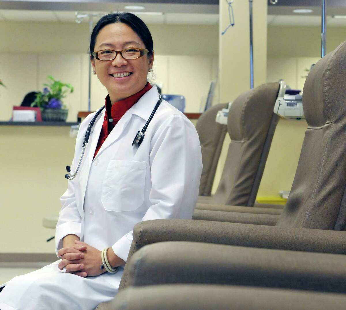 Dr. Nini Wu, president of New York Oncology Hematology, sits in the infusion room of their Albany Cancer Center on Monday, Jan. 26, 2015, in Albany, N.Y. (Paul Buckowski / Times Union)