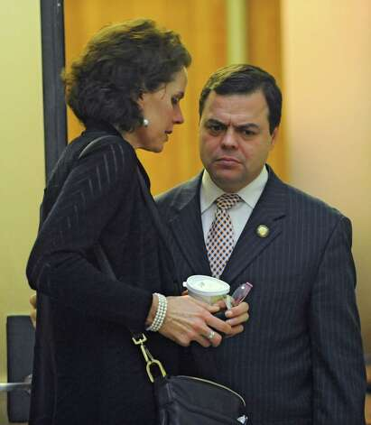 Assembly member Patricia Fahy talks to Assembly member Luis Sepulueda of the Bronx outside a meeting about Speaker Sheldon Silver at the Capitol on Monday, Jan. 26, 2015 in Albany, N.Y.(Lori Van Buren / Times Union) Photo: Lori Van Buren / 00030344A